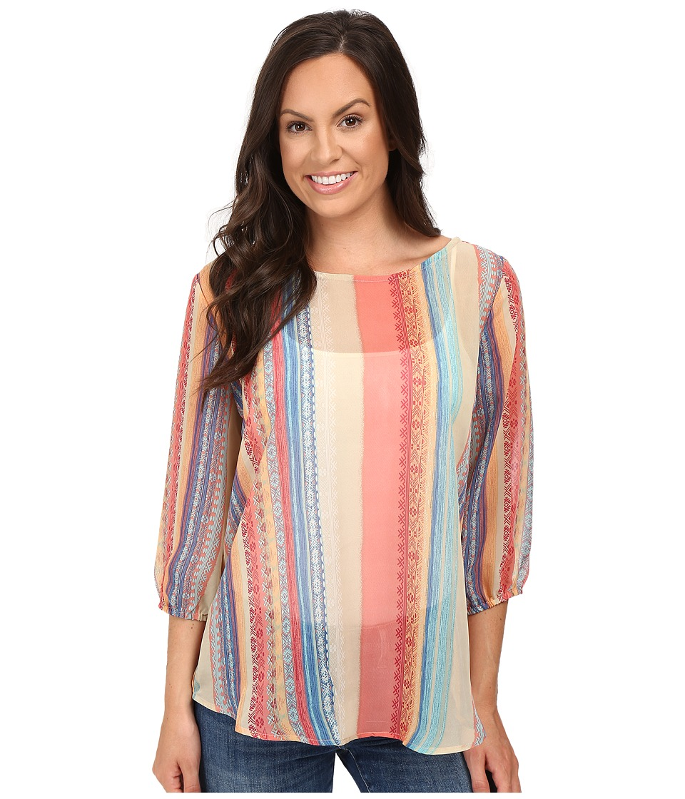 Stetson - Aztec Stripe Chiffon 3/4 Sleeve Woven Top (Red) Women's Clothing