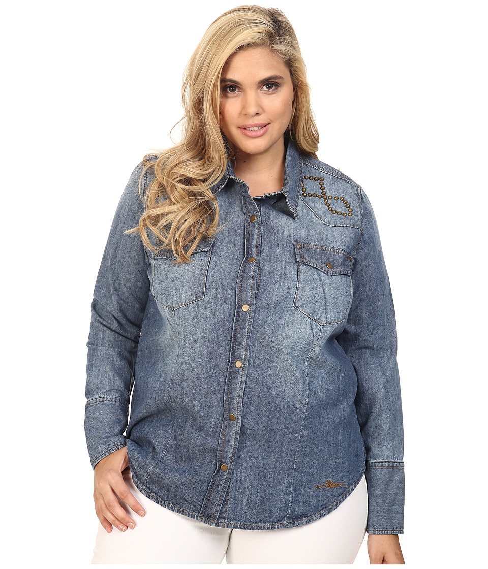 Stetson - Plus Size 6 OZ Denim Long Sleeve Woven Blouse (Blue) Women's Blouse