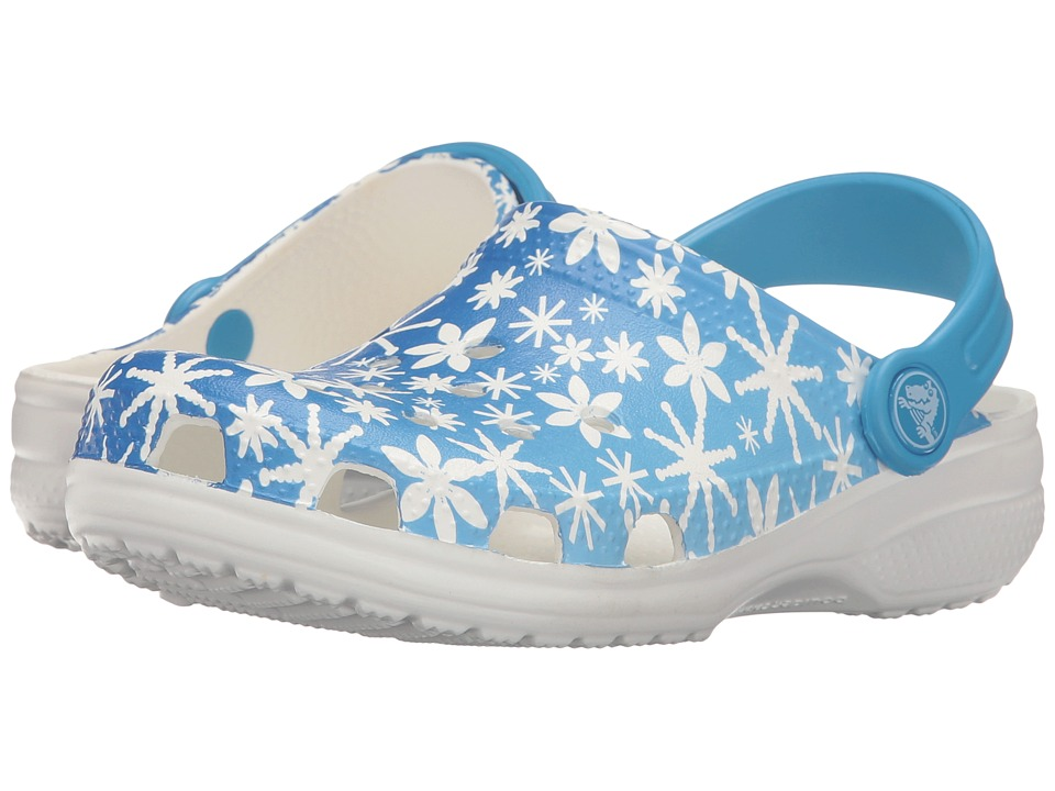 Crocs Kids - Classic Snowflake Clog (Toddler/Little Kid) (Ice Blue) Kids Shoes