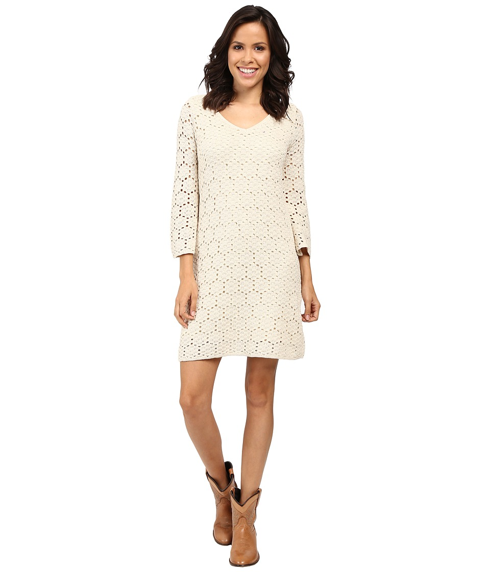 Stetson - Double Knit Lace V-Neck Dress 3/4 Sleeves (White) Women's Dress
