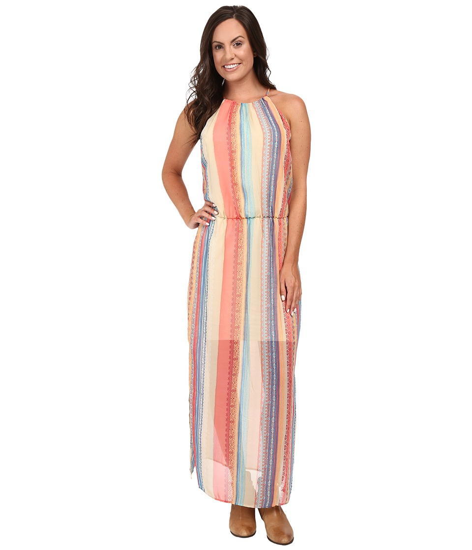Stetson - Aztec Stripe Chiffon Sleeveless Maxi Dress (Red) Women's Dress