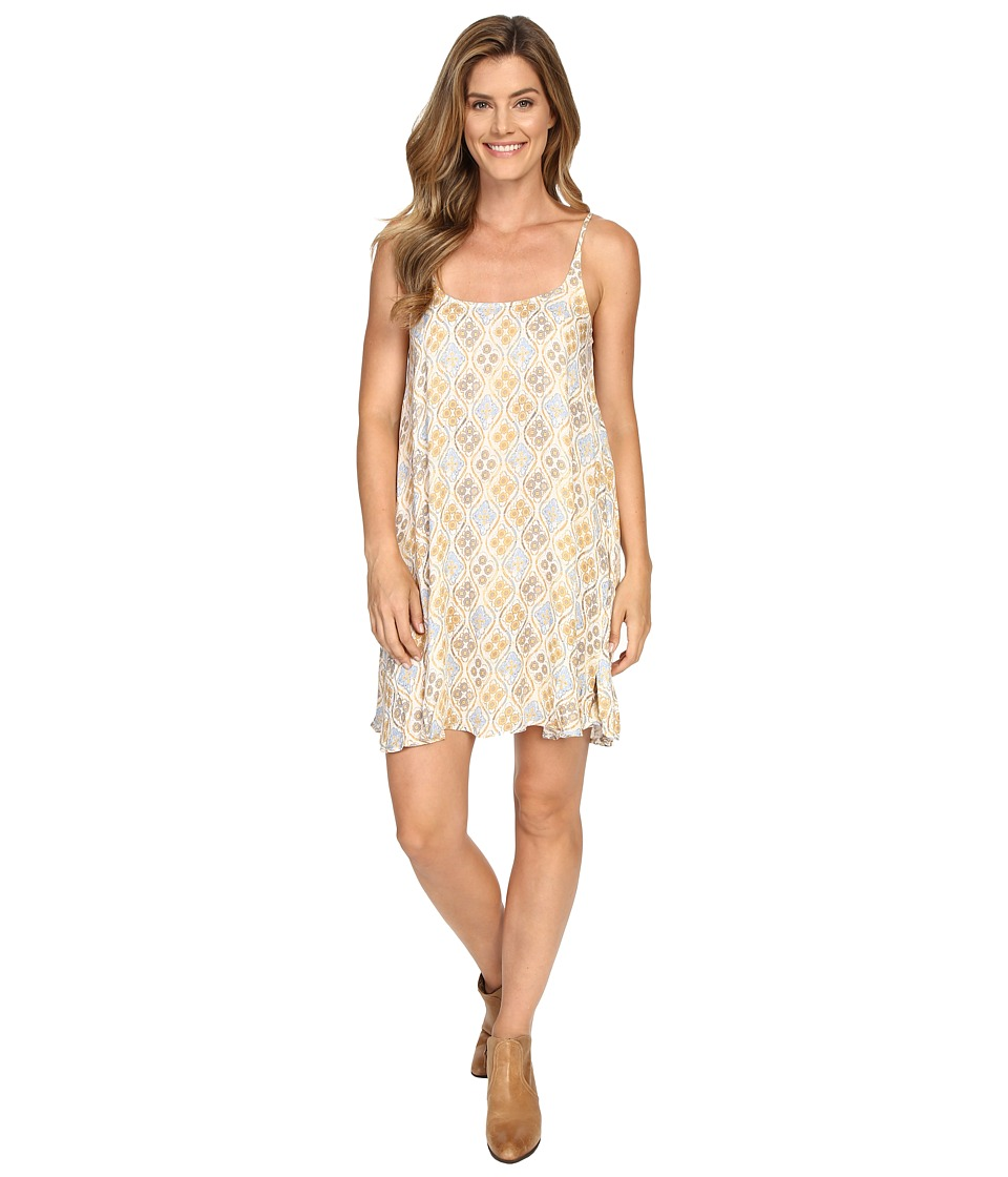 Stetson - Floral Batik Spaghetti Stripe Dress (White) Women's Dress
