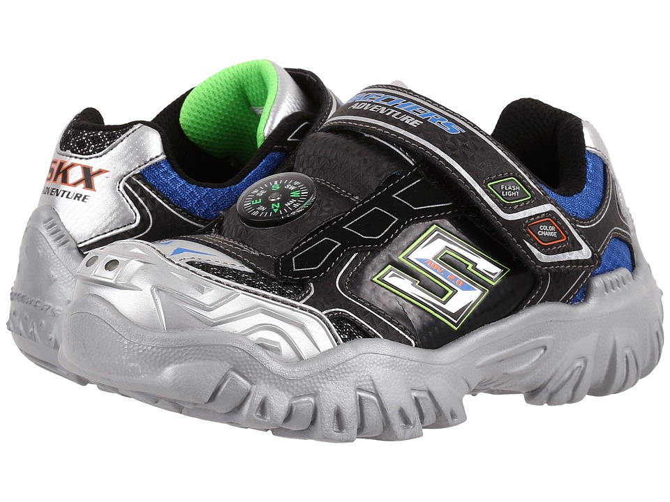 SKECHERS KIDS - Damager II - Adventurer 2.0 90491L Lights (Little Kid/Big Kid) (Black/Silver/Royal) Boy's Shoes