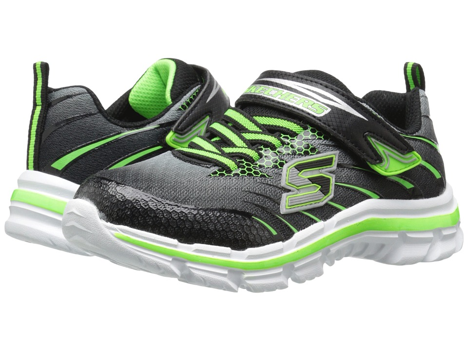 SKECHERS KIDS - Nitrate - Pulsar 95346L (Little Kid/Big Kid) (Black/Lime) Boy's Shoes