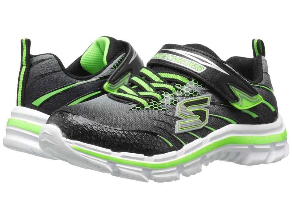 SKECHERS KIDS Nitrate Pulsar 95346L (Little Kid/Big Kid) (Black/Lime) Boy's  Shoes