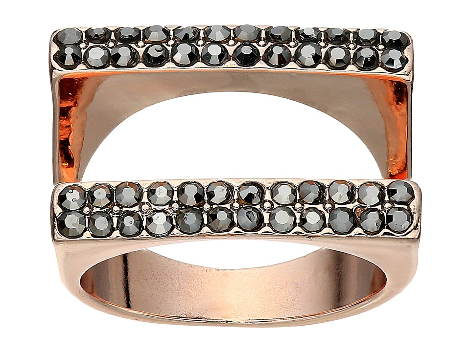 GUESS - Double Bar Ring (Rose Gold/Hematite) Ring