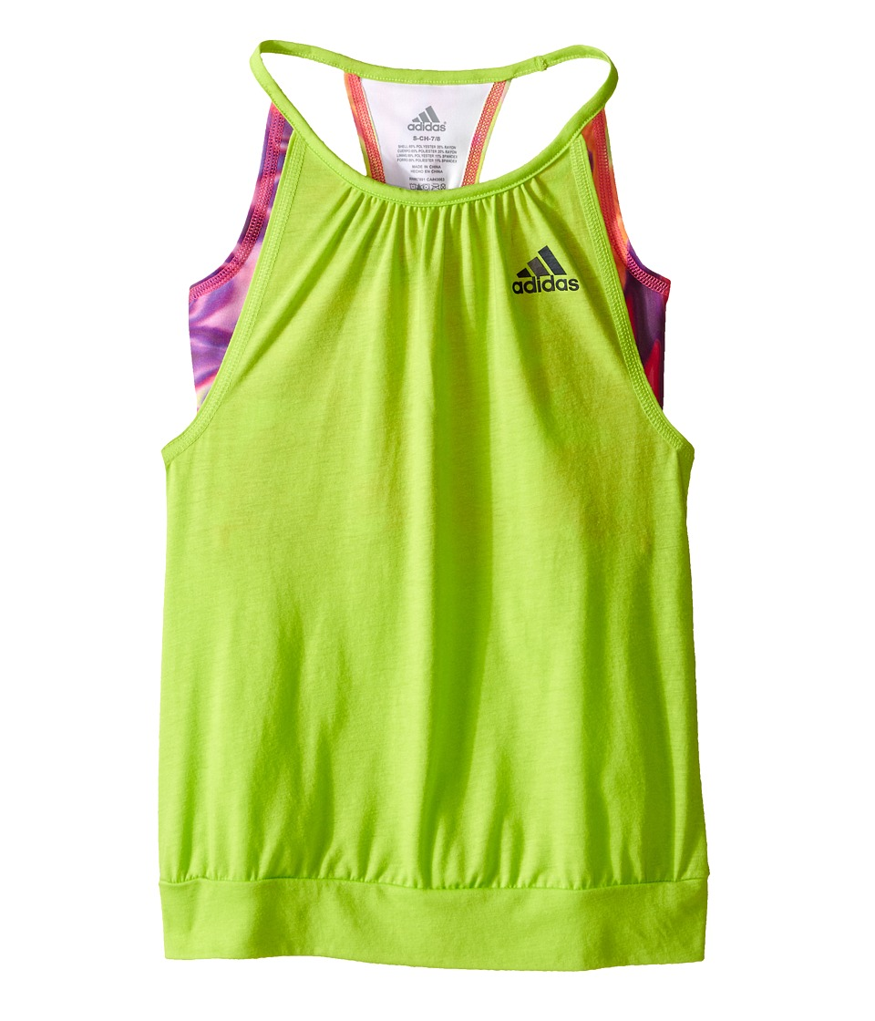 adidas Kids - Flow Tank Top (Big Kids) (Semi Solar Slime/Dark Grey) Girl's Sleeveless