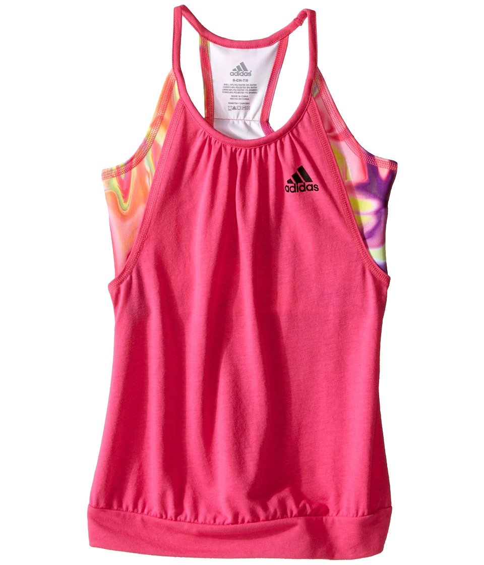 adidas Kids - Flow Tank Top (Big Kids) (Shock Pink/Black) Girl's Sleeveless