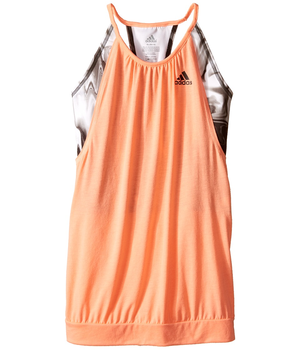 adidas Kids - Flow Tank Top (Big Kids) (Sun Glow/Black) Girl's Sleeveless
