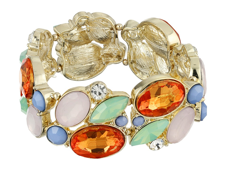 GUESS - Clustered Stone Stretch Bracelet (Gold/Multicolor) Bracelet
