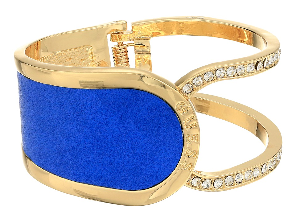 GUESS - Hinged Cuff with Fauz Leather Bracelet (Gold/Blue) Bracelet