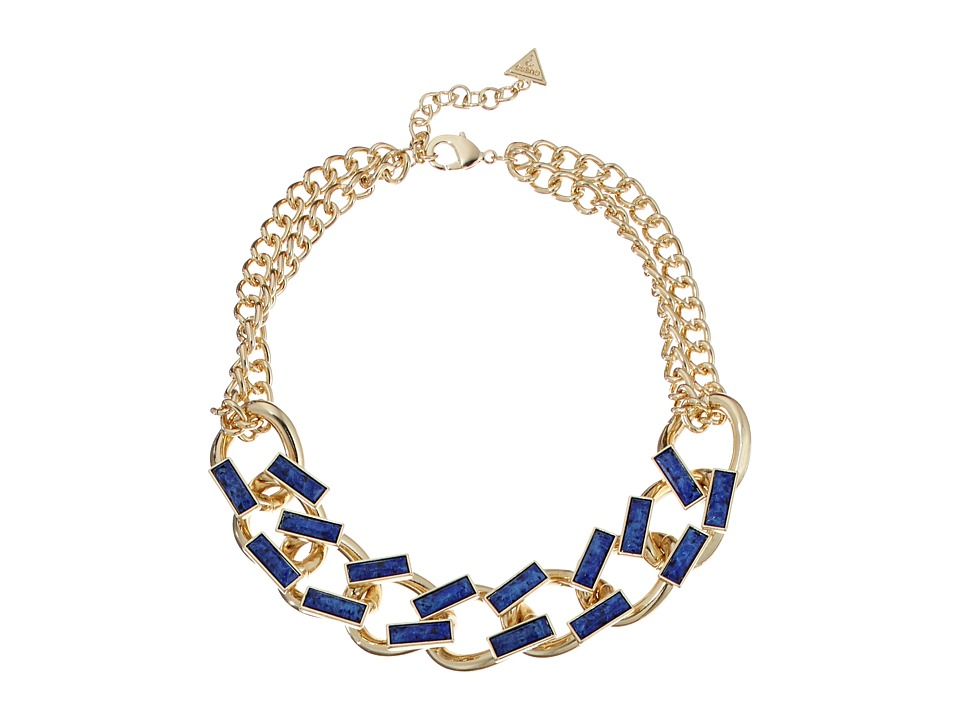 GUESS - Faux Leather Links Collar Necklace (Gold/Dark Blue) Necklace