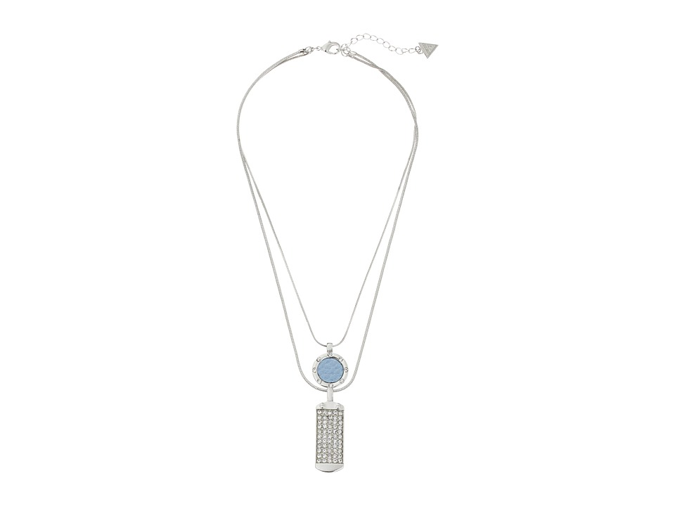 GUESS - Disc and ID Tag Duo Necklace Set (Silver/Crystal/Blue) Necklace