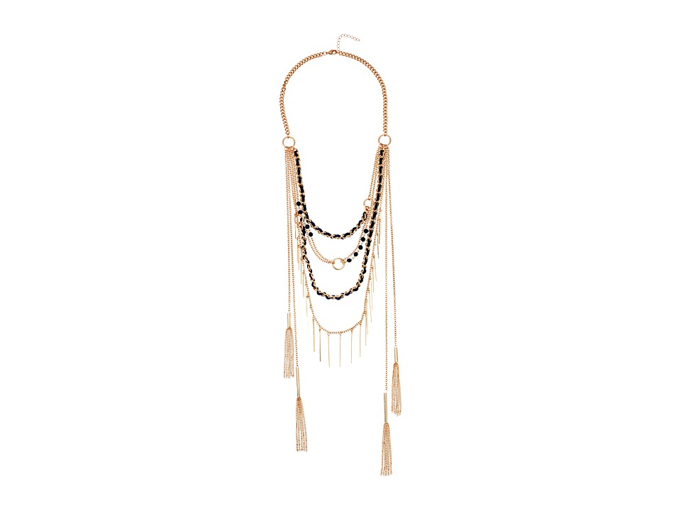 GUESS - Multi Chain/Woven and Bead Layer Necklace (Gold/Dark Blue) Necklace