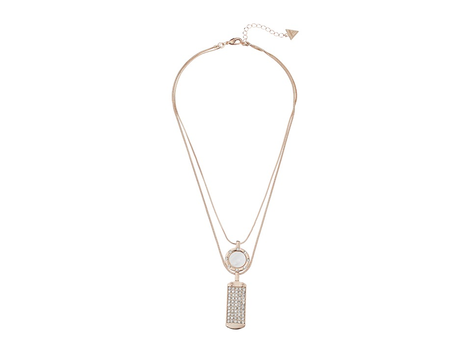 GUESS - Disc and ID Tag Duo Necklace Set (Rose Gold/Crystal/White) Necklace