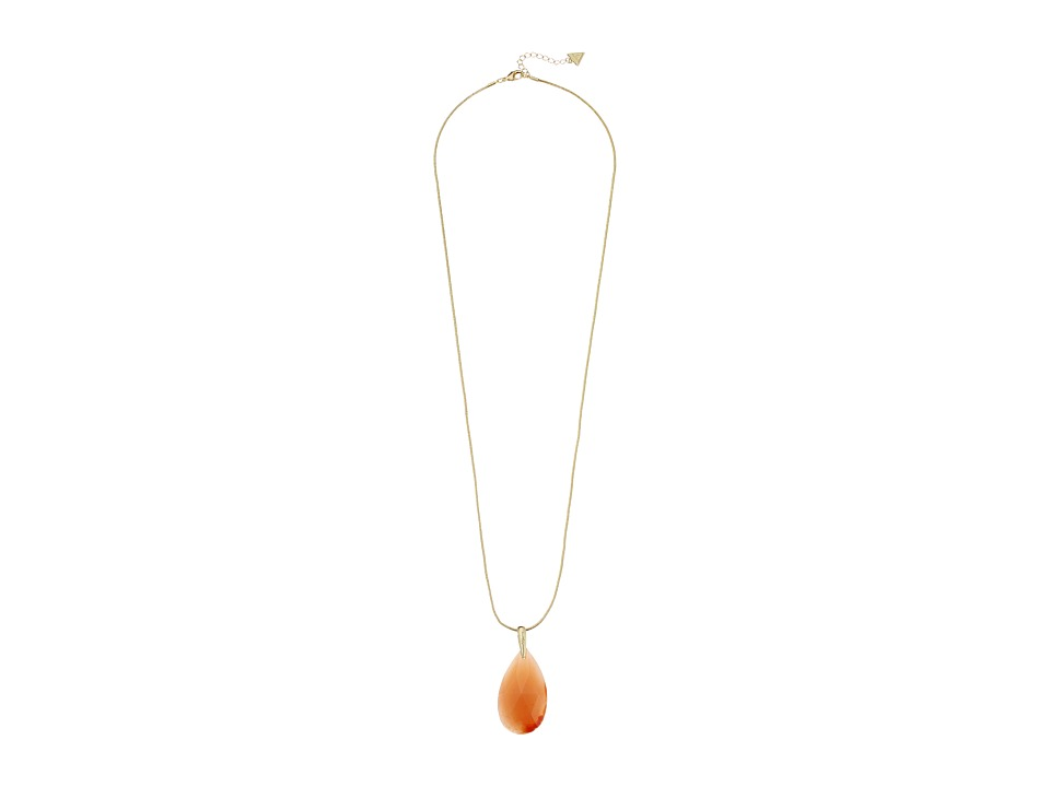 GUESS - Faceted Teardrop Stone Pendant (Gold/Coral) Necklace