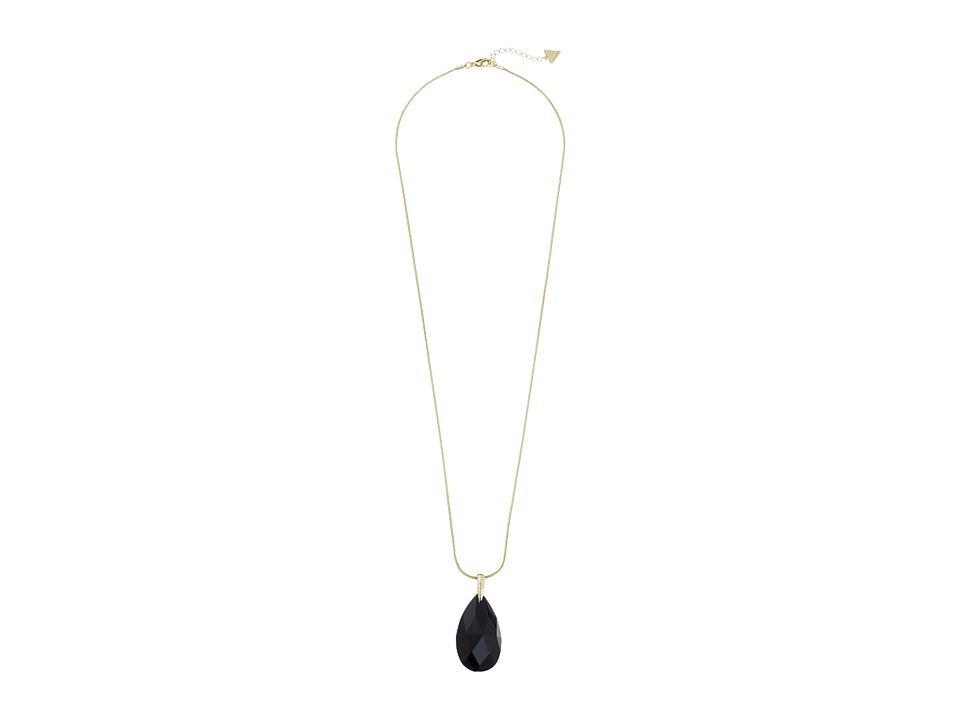 GUESS - Faceted Teardrop Stone Pendant (Gold/Jet) Necklace
