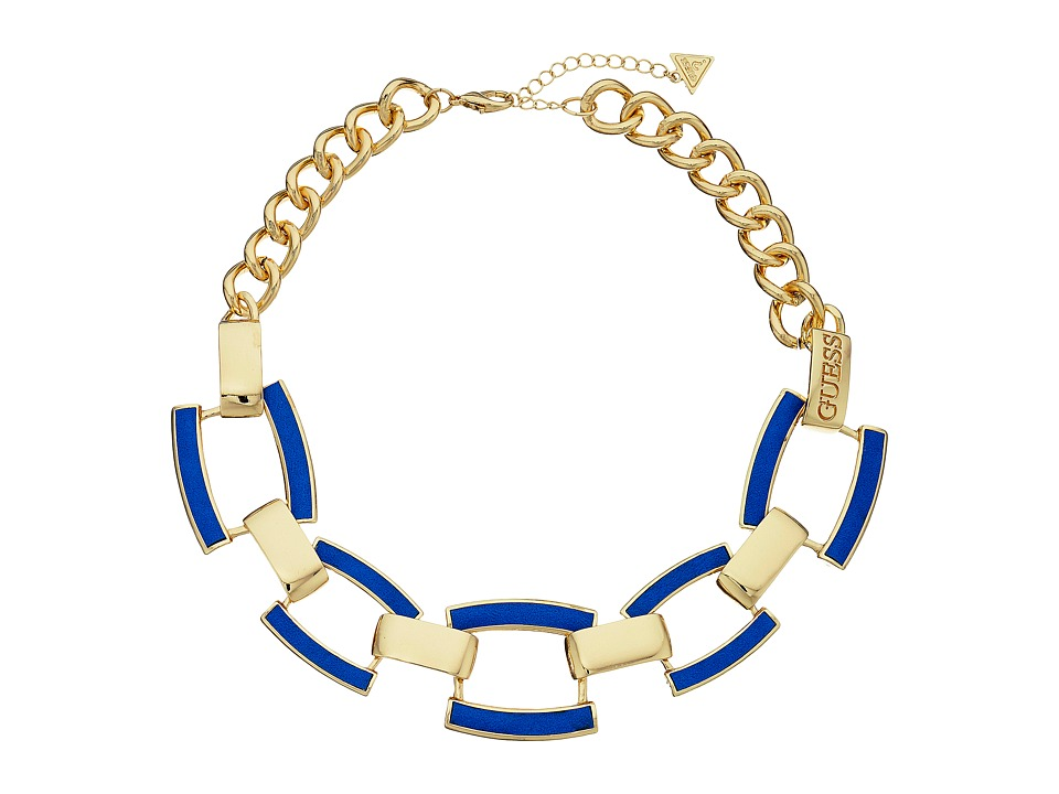 GUESS - Faux Leather Links Collar Necklace (Gold/Blue) Necklace