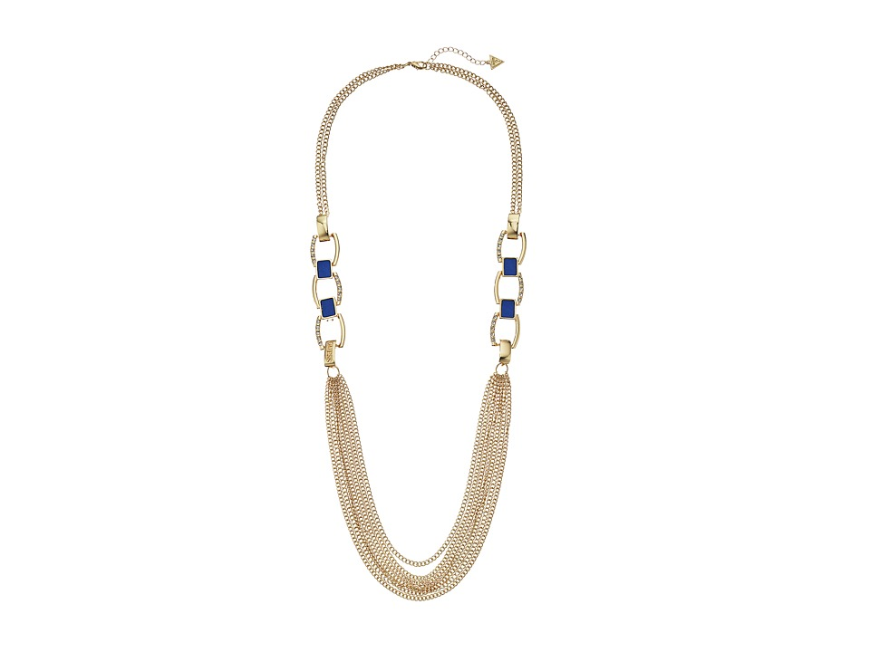 GUESS - Faux Leather Links and Multi Chain Necklace (Gold/Blue) Necklace