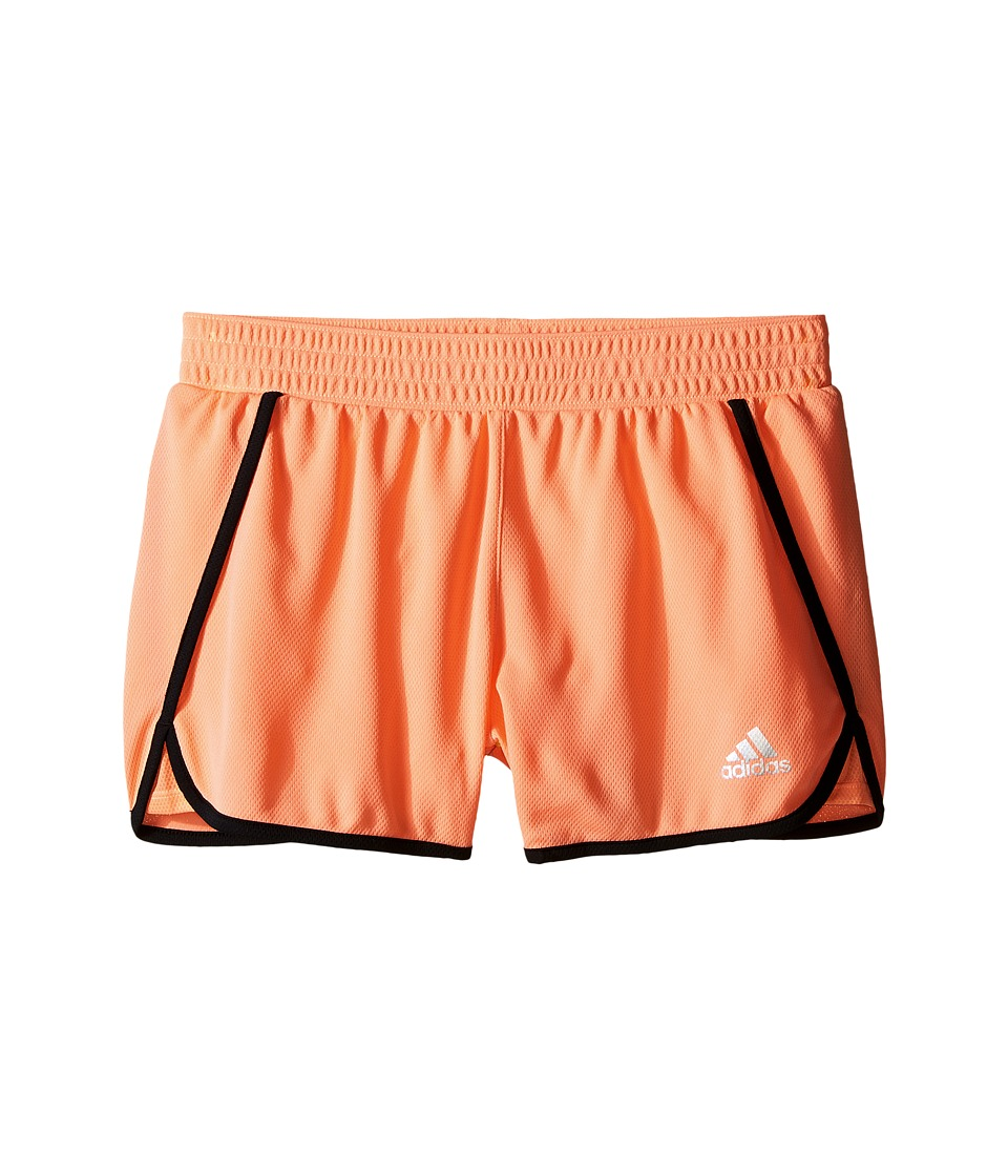 Image of adidas Kids - 3 Knit Shorts (Big Kids) (Sun Glow/Black) Girl's Shorts
