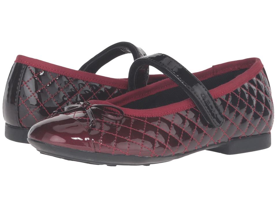 Geox Kids - Jr Plie 37 (Little Kid/Big Kid) (Dark Red/Black) Girl's Shoes