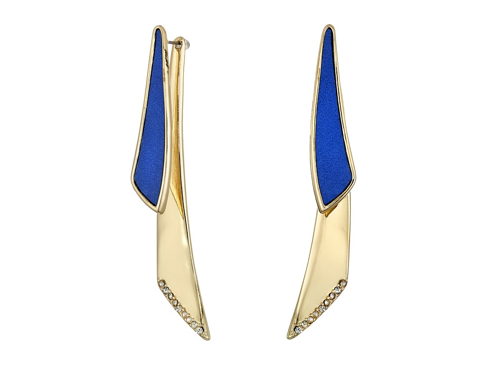 GUESS - Faux Leather and Metal Front To Back Paddle Earrings (Gold/Crystal/Blue) Earring