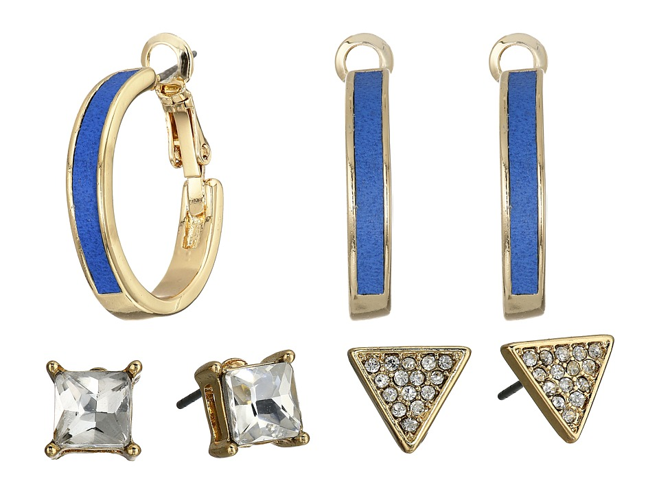 GUESS - Hoop and Double Stud Trio Earrings Set (Gold/Crystal/Blue) Earring
