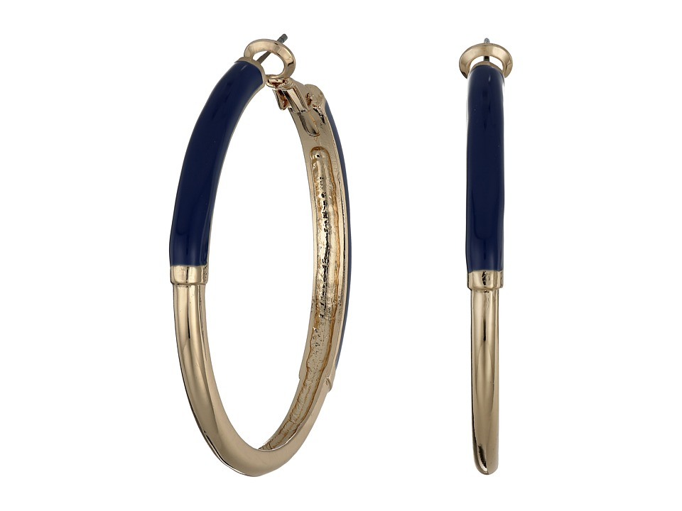 GUESS - Hoop Earrings (Gold/Dark Blue) Earring