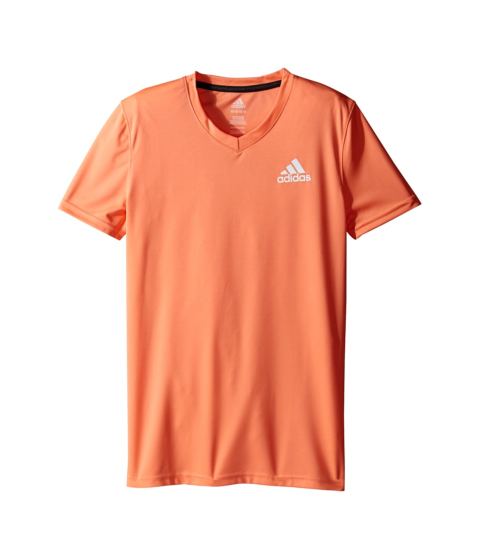 adidas Kids - V-Neck Clima Shirt (Big Kids) (Sun Glow/Black) Girl's Short Sleeve Button Up