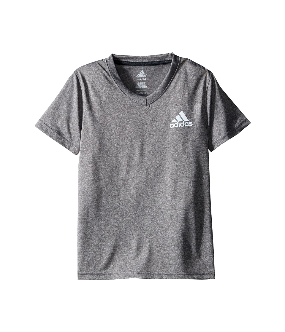 adidas Kids - V-Neck Clima Shirt (Big Kids) (Medium Heather Grey) Girl's Short Sleeve Button Up