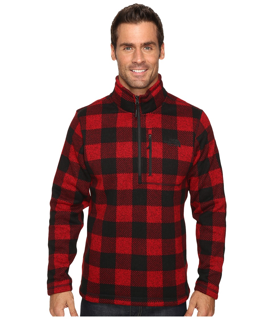 The North Face - Novelty Gordon Lyons 1/4 Zip (Cardinal Red Grizzly Print) Men's Fleece
