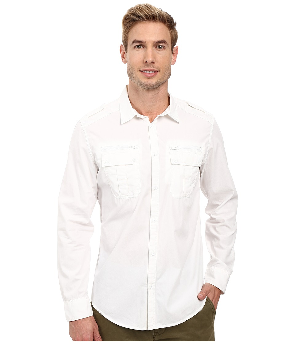 Calvin Klein Jeans - Modern Military Dye Shirt (Classic White) Men's Long Sleeve Button Up