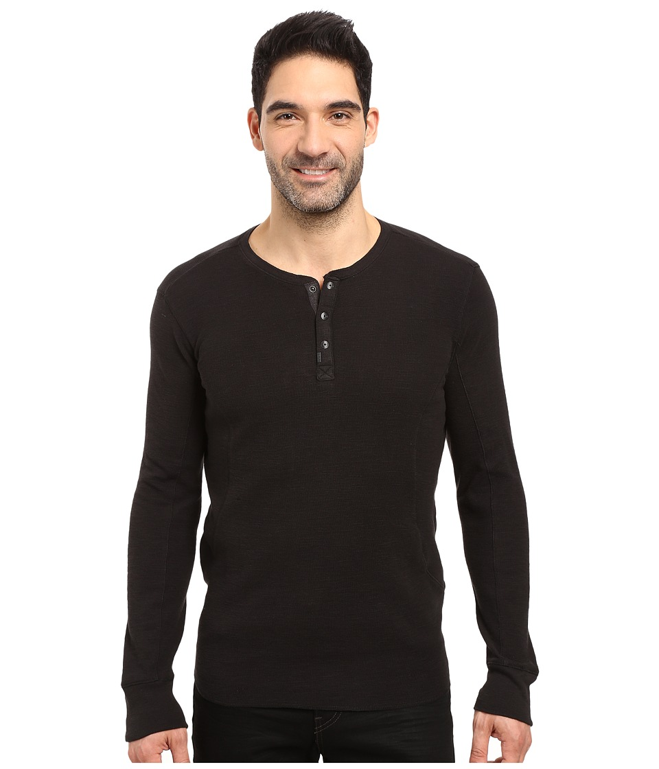 Calvin Klein Jeans Mixed Media Slub Waffle Henley (Black) Men