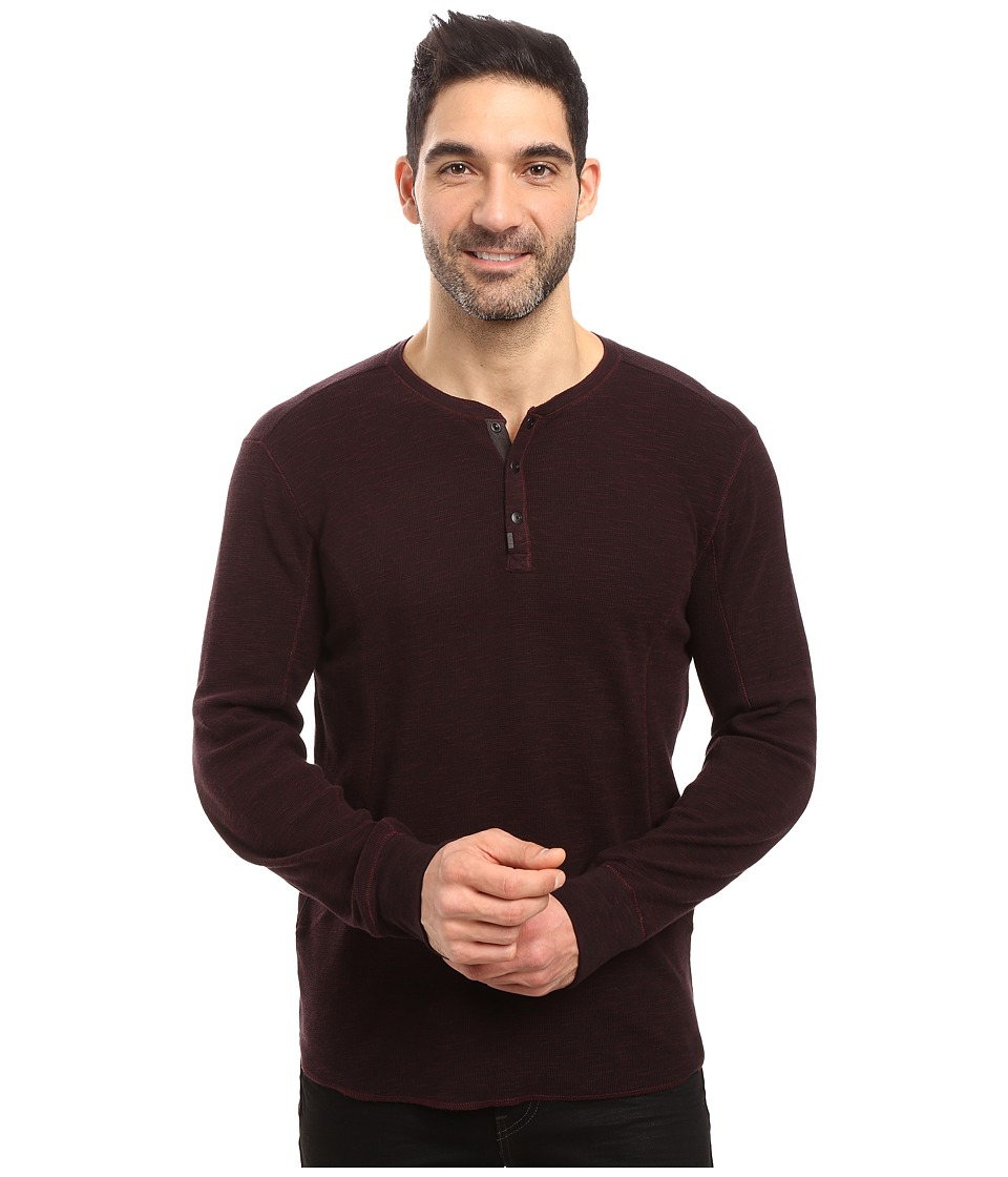 Calvin Klein Jeans Mixed Media Slub Waffle Henley (Bordeaux) Men