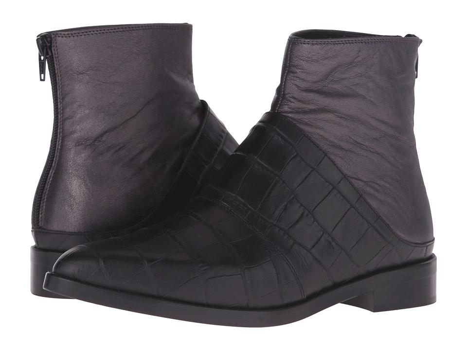 MM6 Maison Margiela Layered Chelsea Boot (Black/Gunmetal Leather) Women