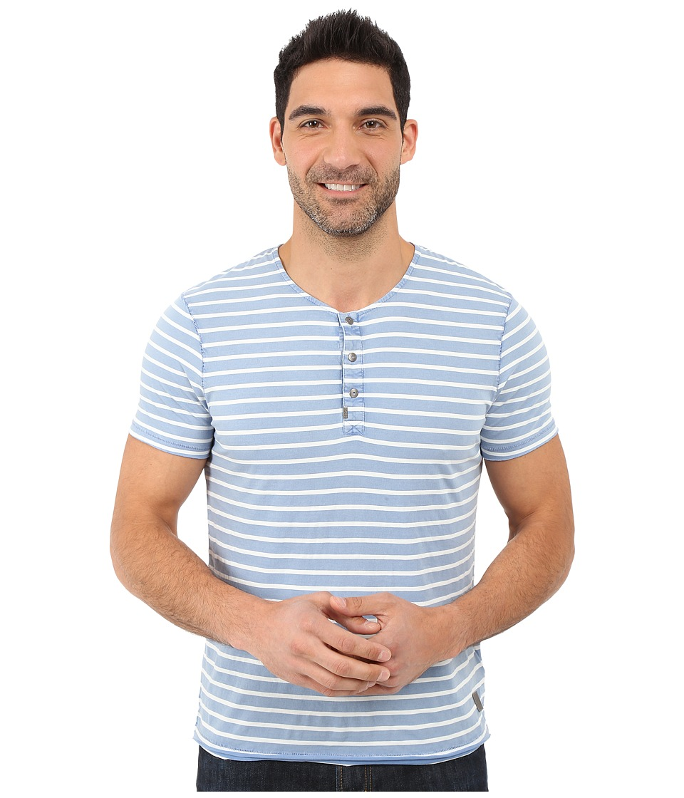 Calvin Klein Jeans - Short Sleeve Wash Stripe Henley (Dutch Blue) Men's T Shirt
