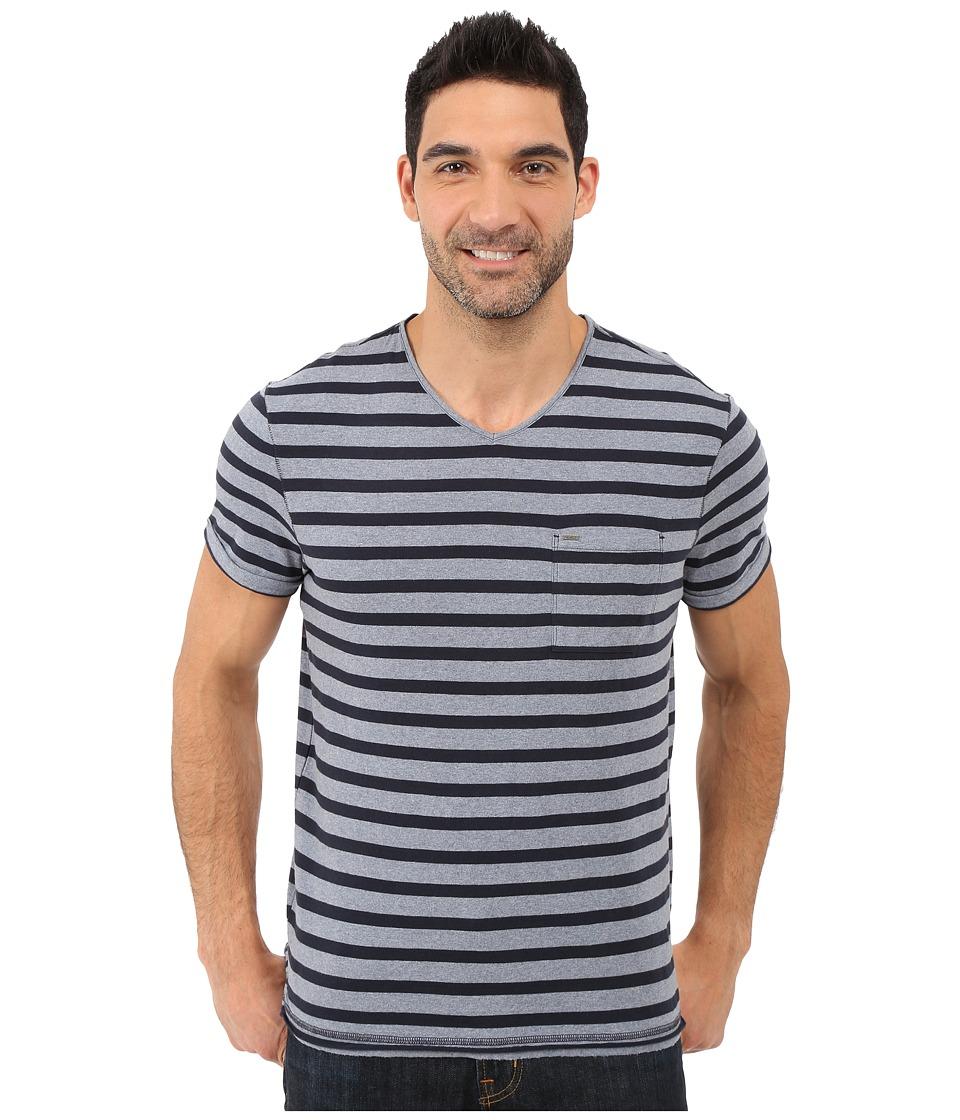 Calvin Klein Jeans - Yarn Dye Stripe Short Sleeve V-Neck (Scorched Denim) Men's T Shirt