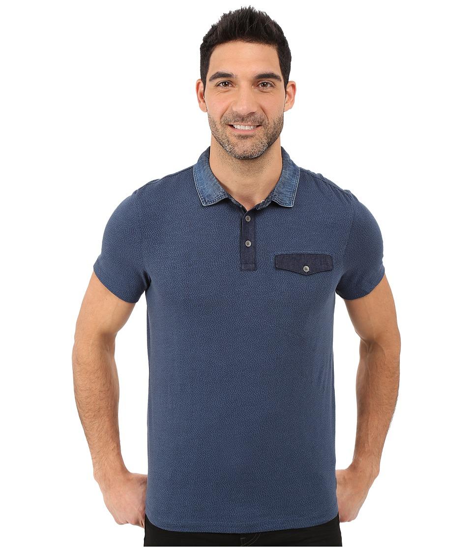 Calvin Klein Jeans - Mini Print Denim Collar Polo (Insignia Blue) Men's Short Sleeve Knit
