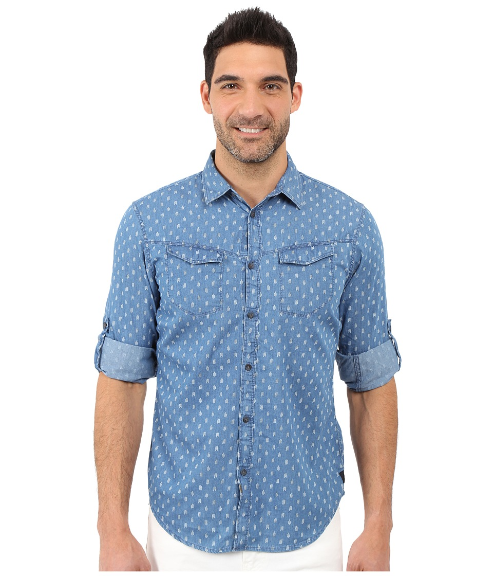 Calvin Klein Jeans - Invaders Discharge Print (Medium Indigo) Men's Long Sleeve Button Up