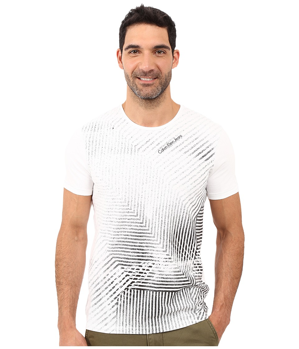 Calvin Klein Jeans - Fade Linear Crew Neck Tee (White) Men's T Shirt