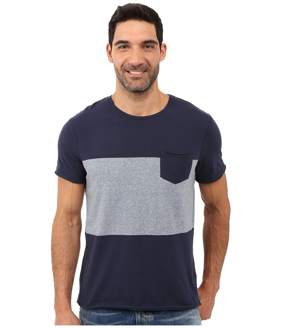 Calvin Klein Jeans Short Sleeve Modern Stripe Block Crew (River) Men