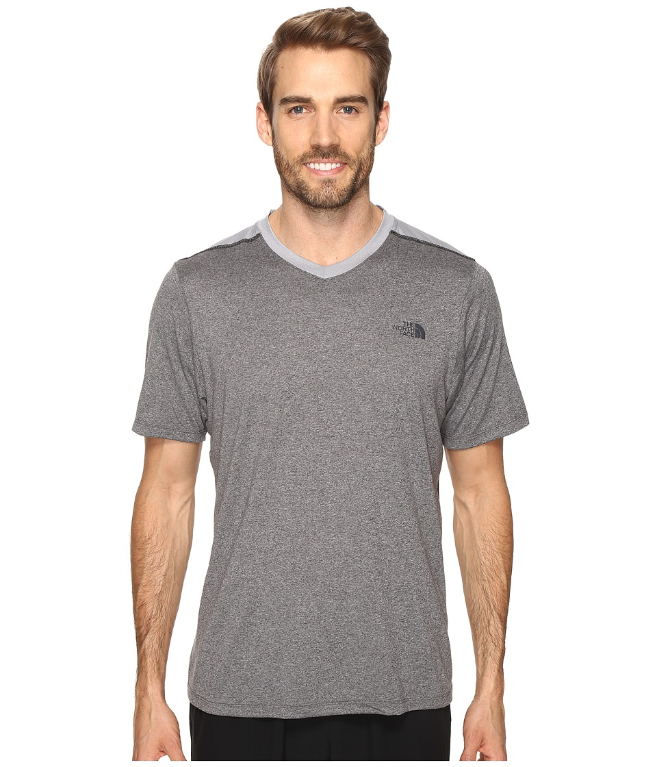 The North Face Reactor Short Sleeve V-Neck (TNF Medium Grey Heather (Prior Season)) Men