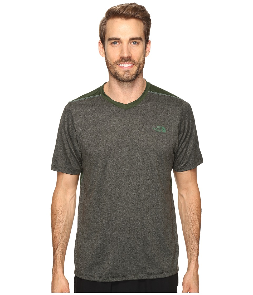 The North Face - Reactor Short Sleeve V-Neck (Climbing Ivy Green Heather) Men's Clothing