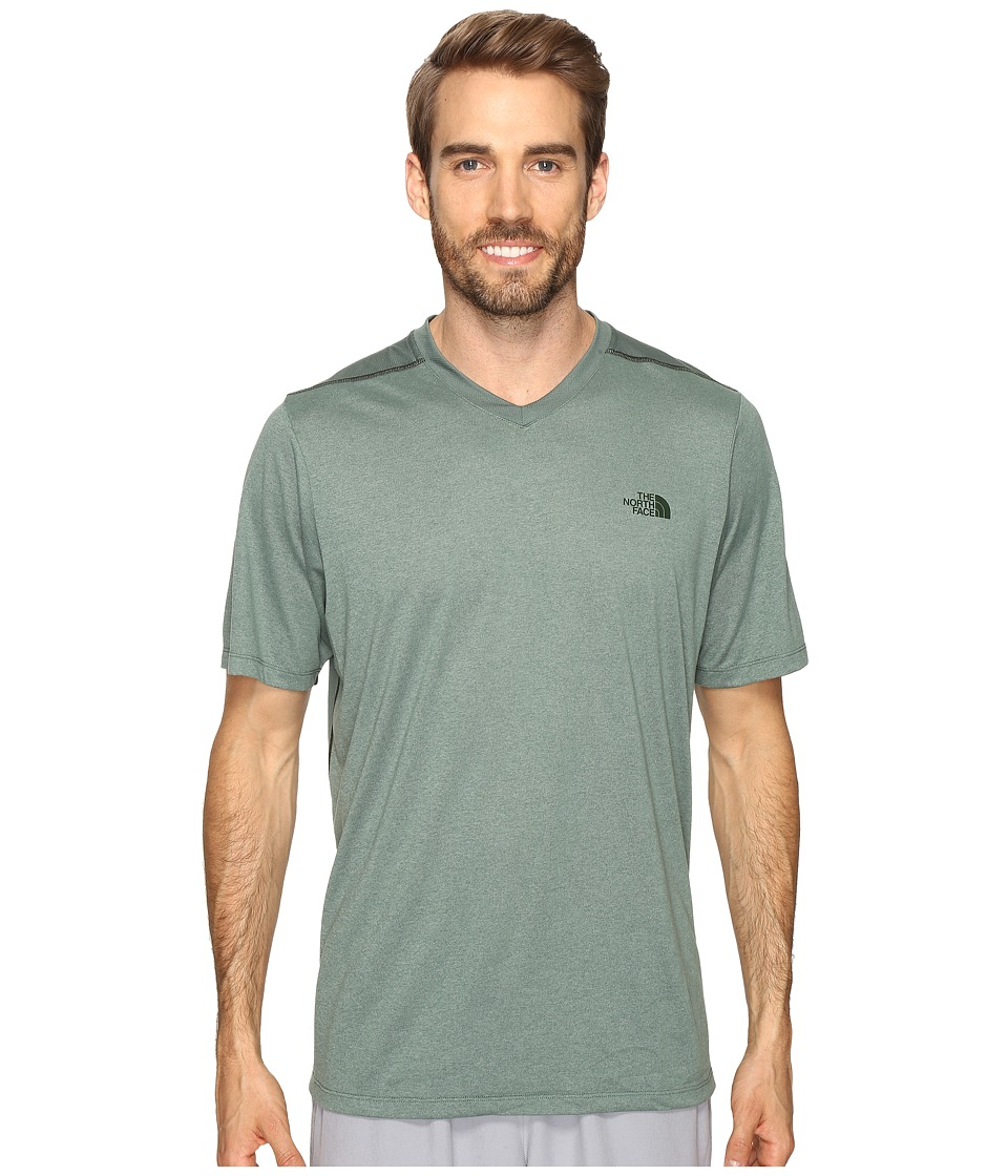The North Face - Reactor Short Sleeve V-Neck (Duck Green Heather) Men's Clothing