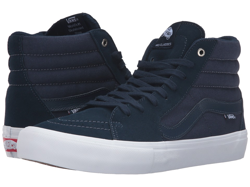 Vans - SK8-Hi Pro (Navy/Navy/White) Men's Skate Shoes