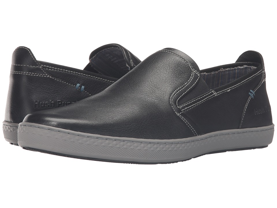 Hush Puppies - Goal Roadcrew (Black Leather/Grey) Men's Slip on Shoes