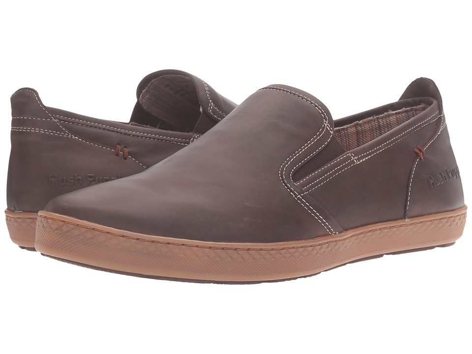 Hush Puppies - Goal Roadcrew (Dark Brown Leather/Gum) Men's Slip on Shoes