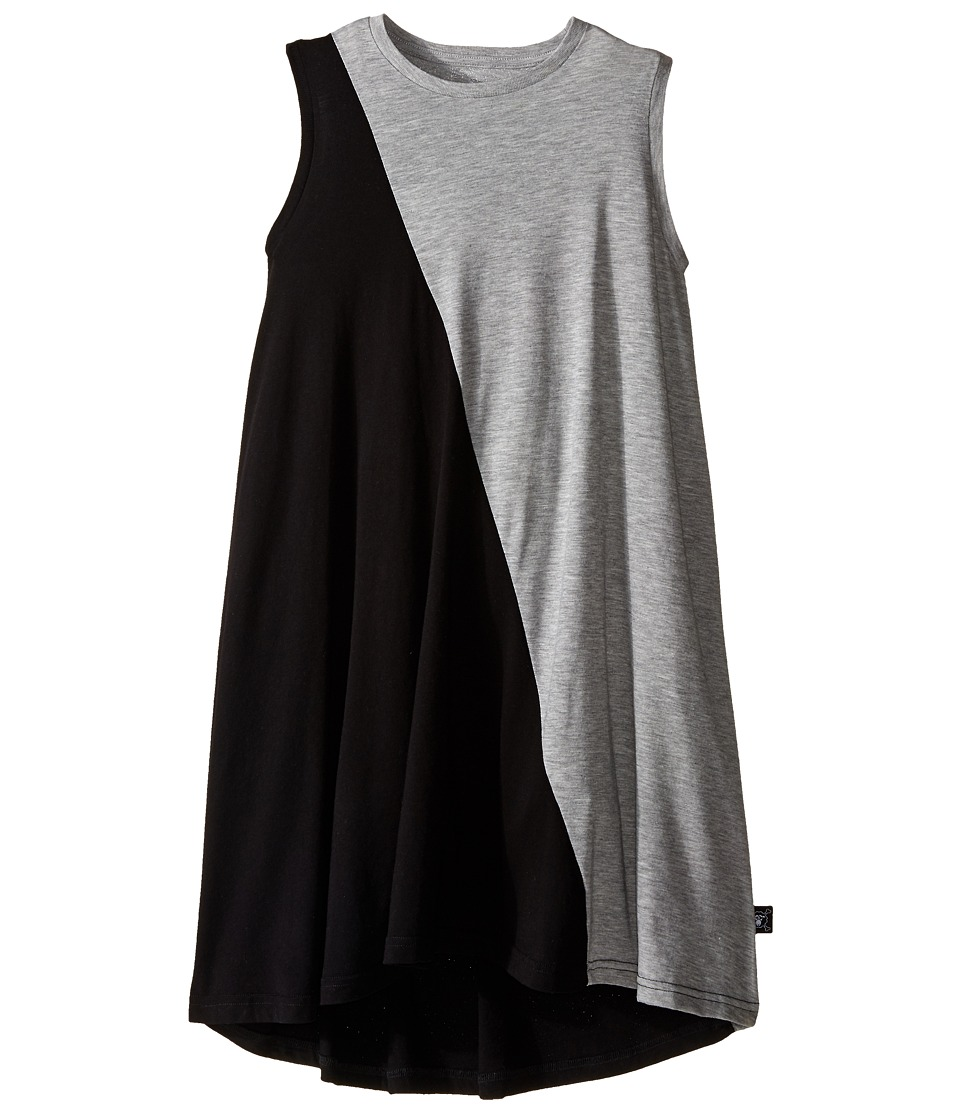 Nununu - 1/2 1/2 360 Tank Dress (Little Kids/Big Kids) (Black/Heather Grey) Girl's Dress