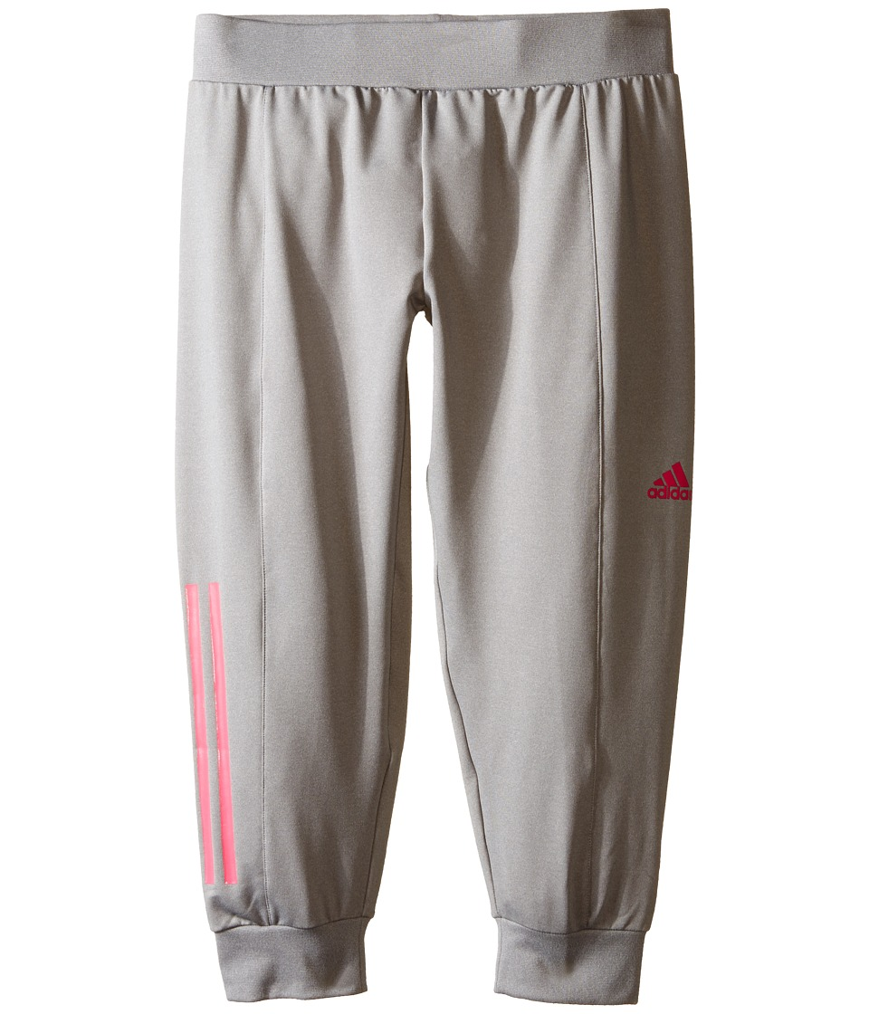 adidas Kids - Slim Capris (Big Kids) (Medium Grey Heather/Shock Pink) Girl's Casual Pants