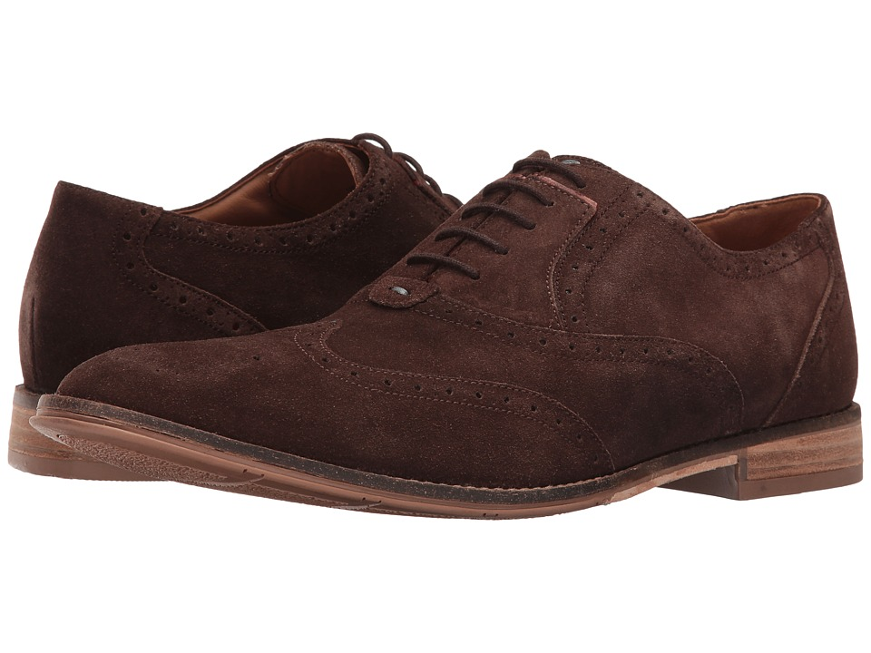 Hush Puppies - Style Brogue (Dark Brown Suede) Men's Lace Up Wing Tip Shoes